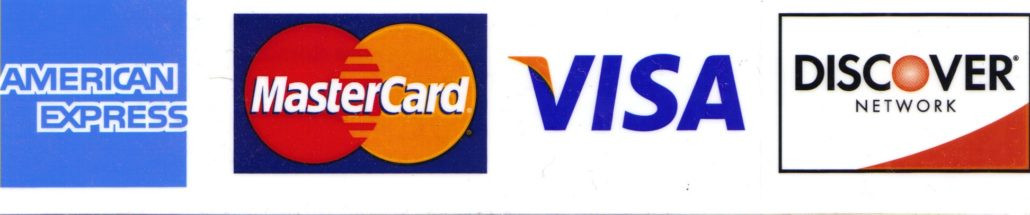We accept Amex, Mastercard, visa and discover